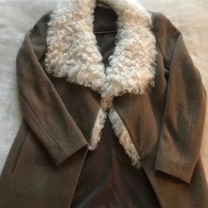 Theory brown and white real fur coat.